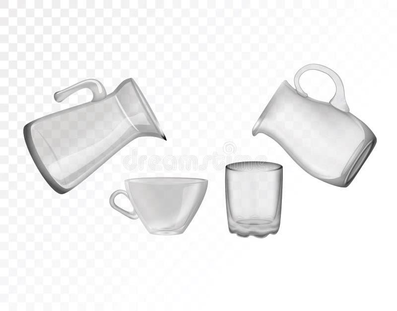 玻璃器皿,水罐,玻璃,杯子 装饰家庭项目 向量例证