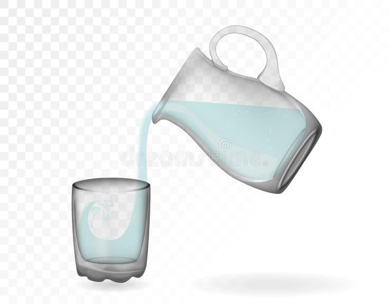 玻璃器皿,水罐,玻璃,杯子 装饰家庭项目 皇族释放例证