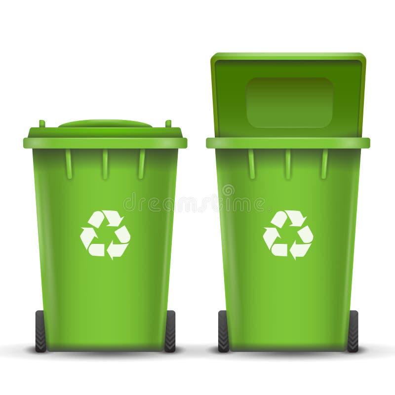 玻璃垃圾的绿色回收站桶传染媒介 打开和关闭 正面图 标志箭头 按钮查出的现有量例证推进s启动妇女 皇族释放例证