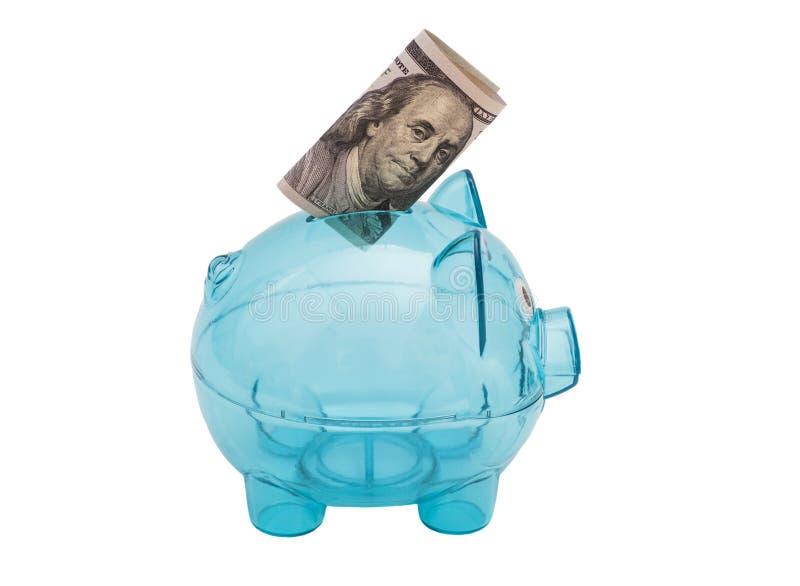 玻璃存钱罐,有美国$100票据的 免版税库存图片