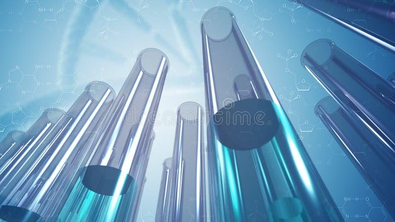 玻璃实验室试验管和科学背景 皇族释放例证