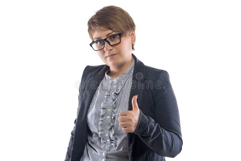 玻璃展示拇指的照片妇女 免版税图库摄影