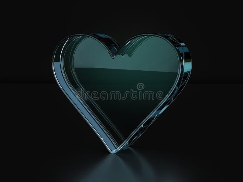 玻璃心脏标志3D例证 向量例证