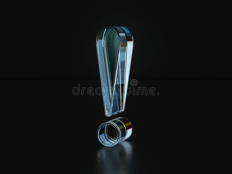 玻璃惊叹号标志3D例证 皇族释放例证