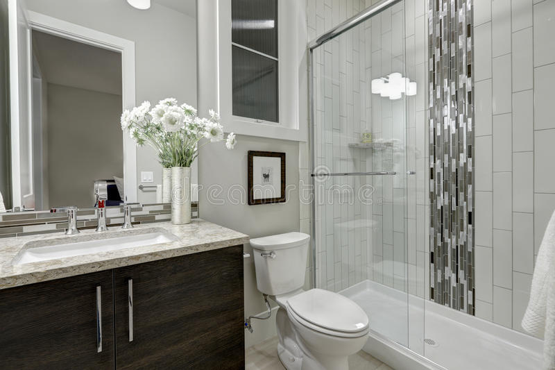 玻璃未经预约而来的阵雨在豪华家卫生间里  库存图片
