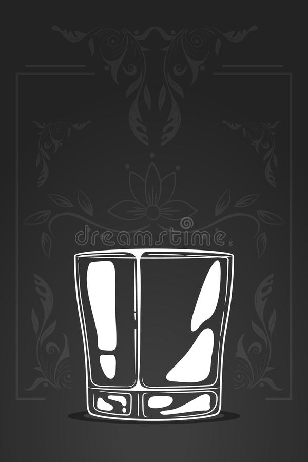 玻璃查出的反映威士忌酒白色 在动画片样式的传染媒介手拉的例证 消极空间概念 商标剪影  装饰有机ornamen 向量例证