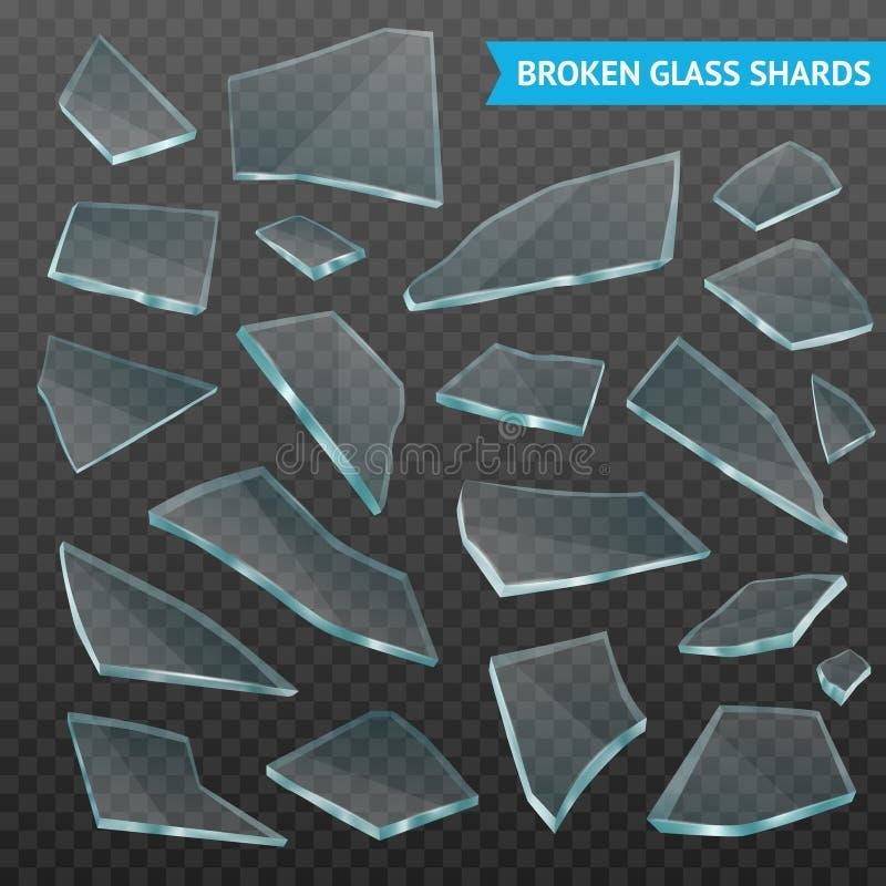 玻璃片段现实黑暗的透明集合 库存例证