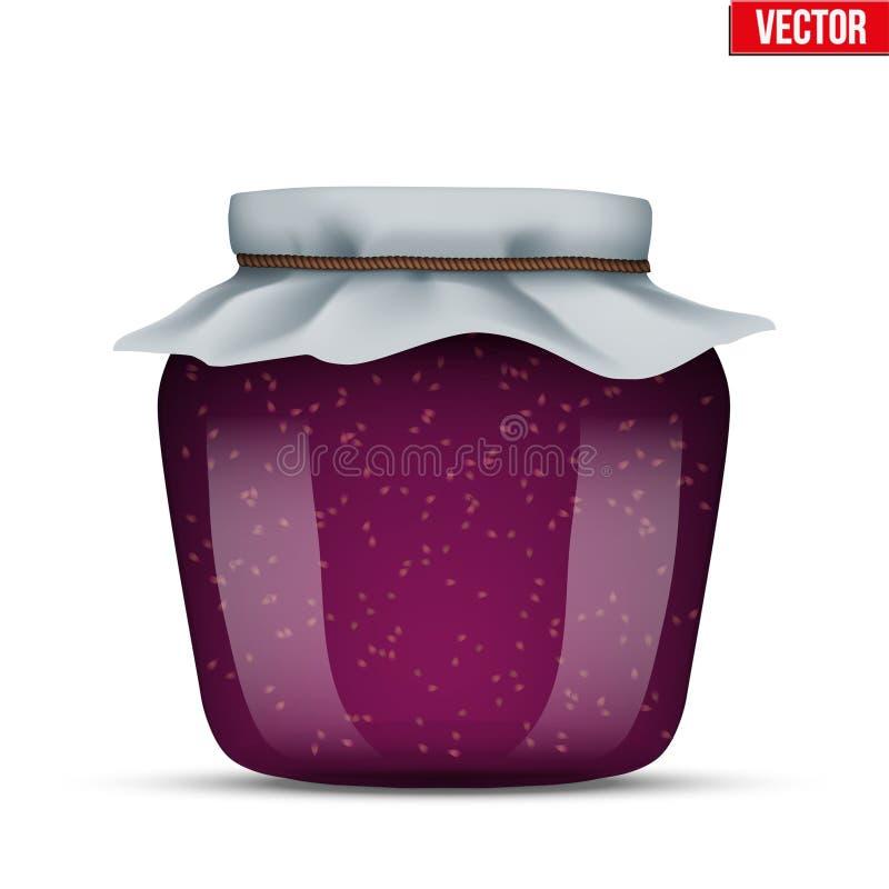 玻璃瓶子用山莓果酱 向量例证