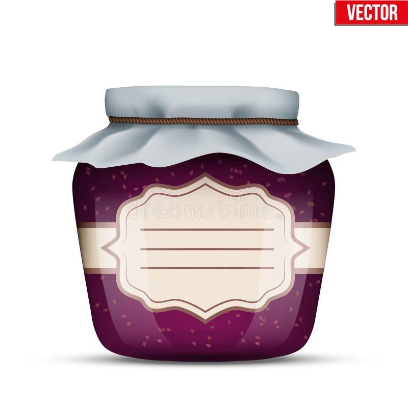 玻璃瓶子用山莓果酱 皇族释放例证