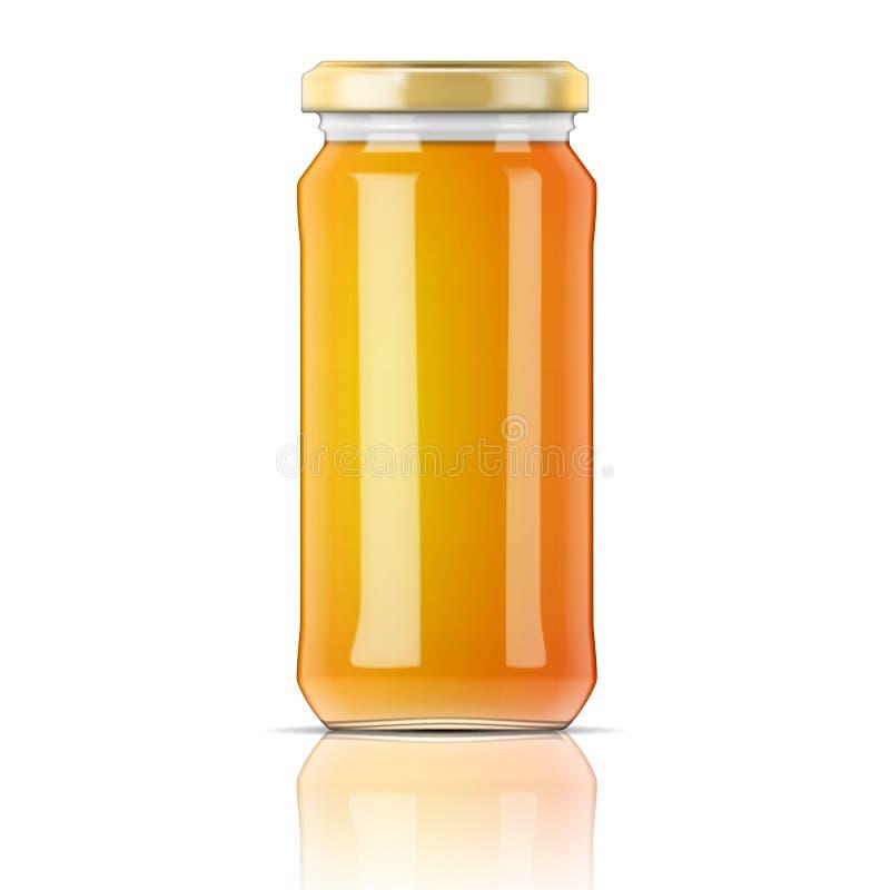 玻璃瓶子用蜂蜜。 皇族释放例证