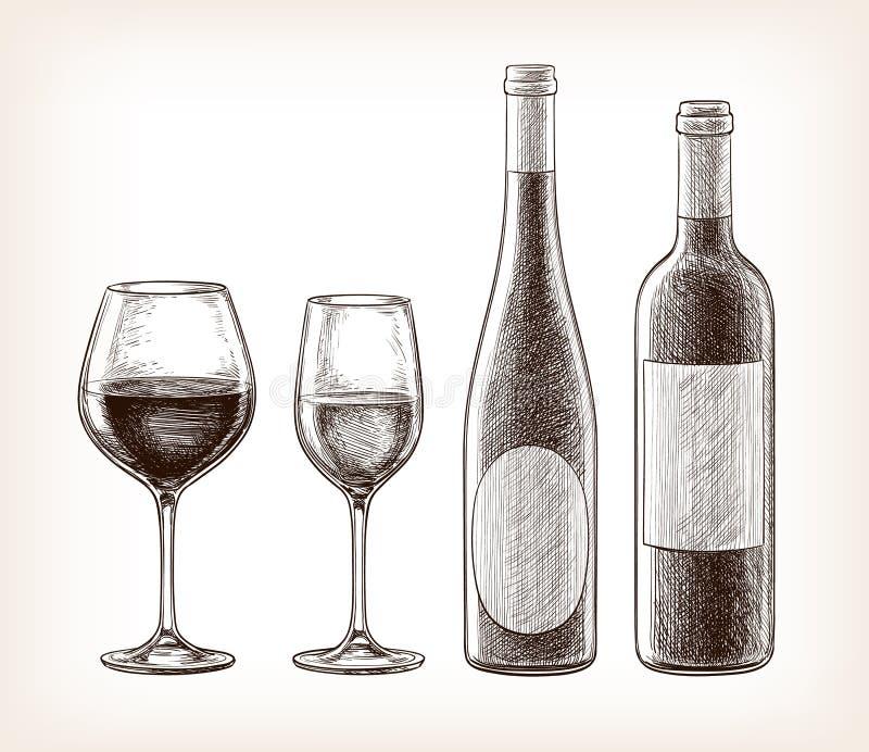 玻璃瓶酒 向量例证