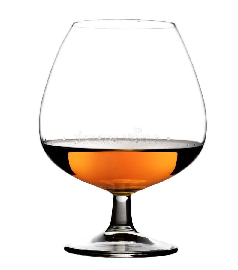 玻璃用在被隔绝的白色背景的科涅克白兰地 免版税图库摄影