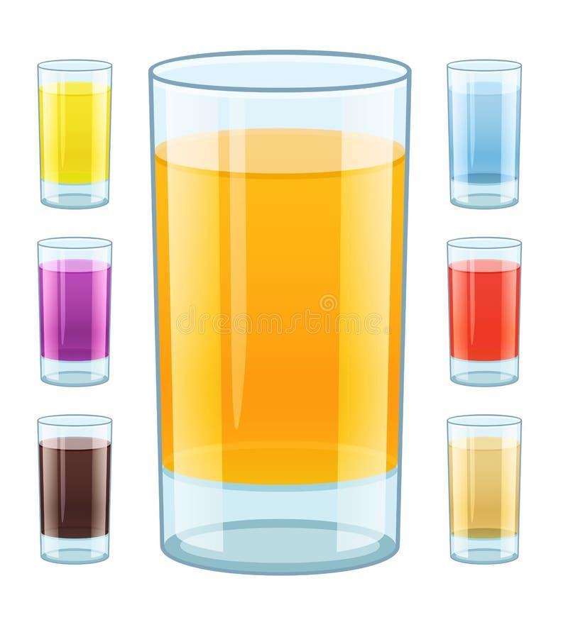 玻璃用新鲜的水果的汁液 向量例证