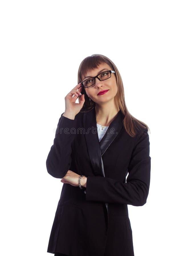 玻璃的女商人 库存照片