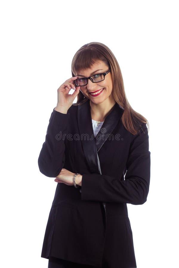 玻璃的女商人 图库摄影