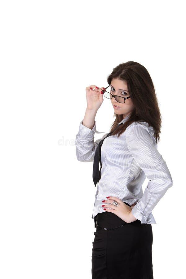 玻璃的女实业家 免版税库存照片