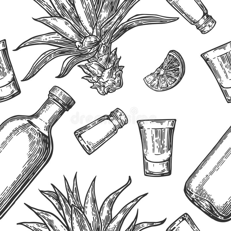 玻璃的无缝的样式和botlle、龙舌兰酒、盐、仙人掌和石灰在白色背景 葡萄酒板刻例证fo 皇族释放例证