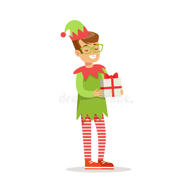 玻璃的男孩与作为圣诞老人服装假日狂欢节党的圣诞节矮子穿戴的礼物 皇族释放例证