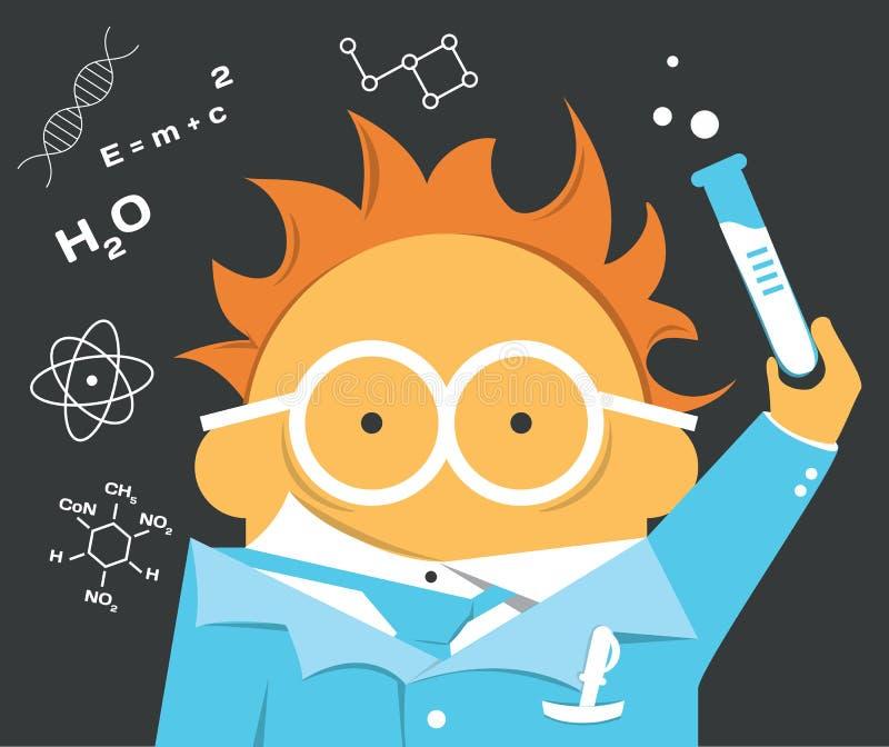 玻璃的疯狂的科学家与电灯泡 向量例证