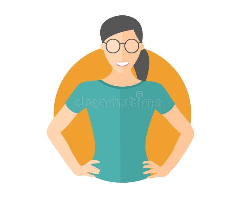 玻璃的确信的俏丽的女孩 平的设计象 有两手插腰的胳膊的妇女 完全编辑可能的被隔绝的传染媒介例证 向量例证
