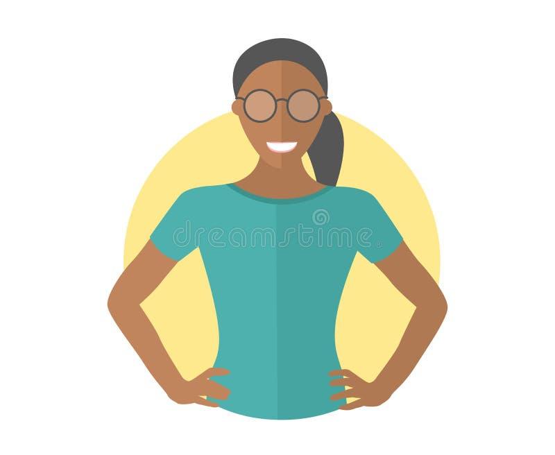 玻璃的确信的黑人俏丽的女孩 平的设计象 有两手插腰的胳膊的刚毅妇女 完全编辑可能的被隔绝的传染媒介 皇族释放例证