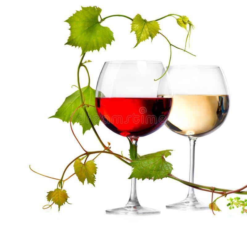 玻璃红色二白葡萄酒 免版税库存图片