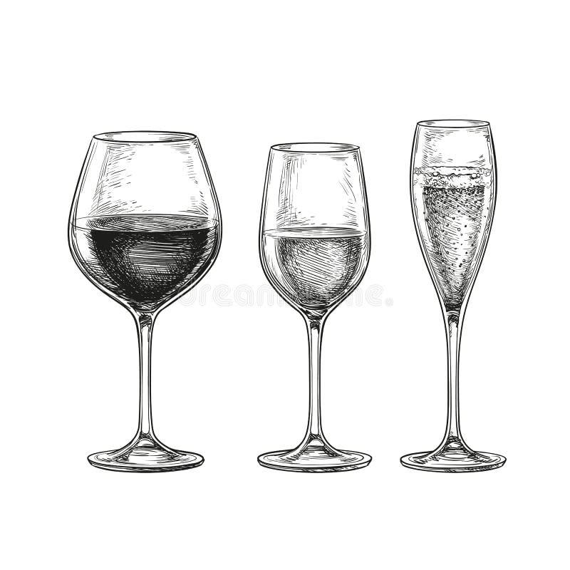 玻璃被设置的酒 皇族释放例证