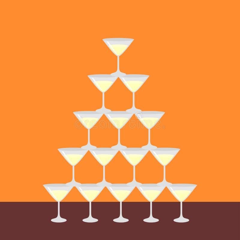 玻璃酒客马蒂尼鸡尾酒,与被隔绝的泡影的香槟,餐馆酒吧菜单的海报平的金字塔  男服务员展示 库存例证