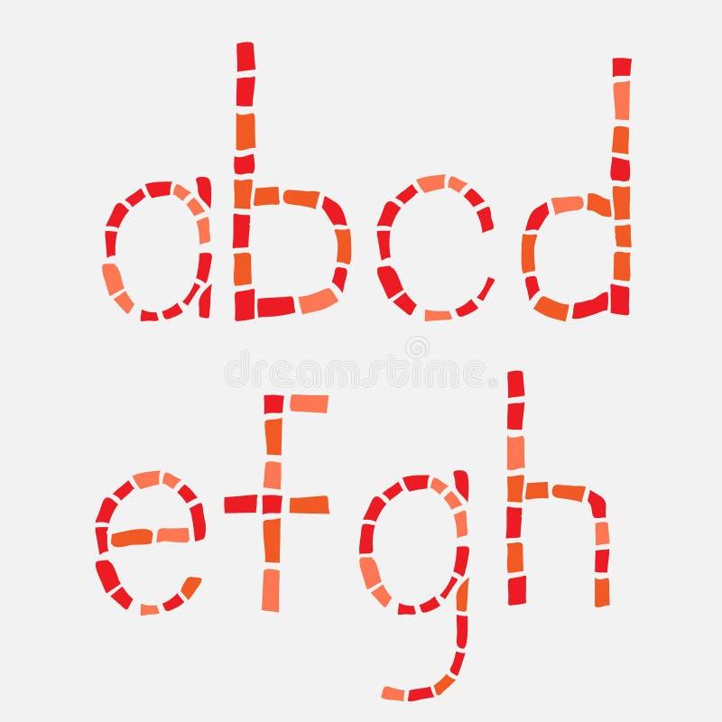 玻璃马赛克拉丁字母集合。 向量例证