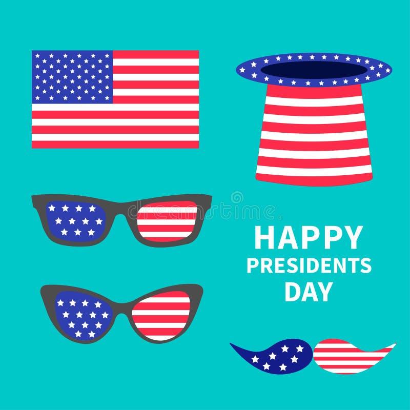 玻璃髭帽子旗子集合 日图标总统被设置 库存例证