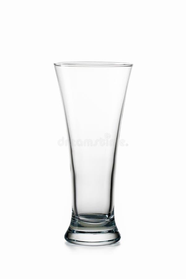玻璃 背景啤酒空的玻璃软绵绵地查出反映白色 免版税库存照片
