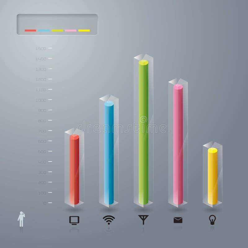 玻璃3D数字式图表例证。 库存例证