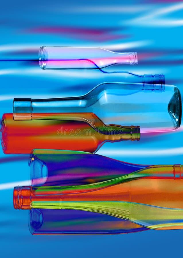 玻璃bottles_3的抽象构成 免版税库存图片