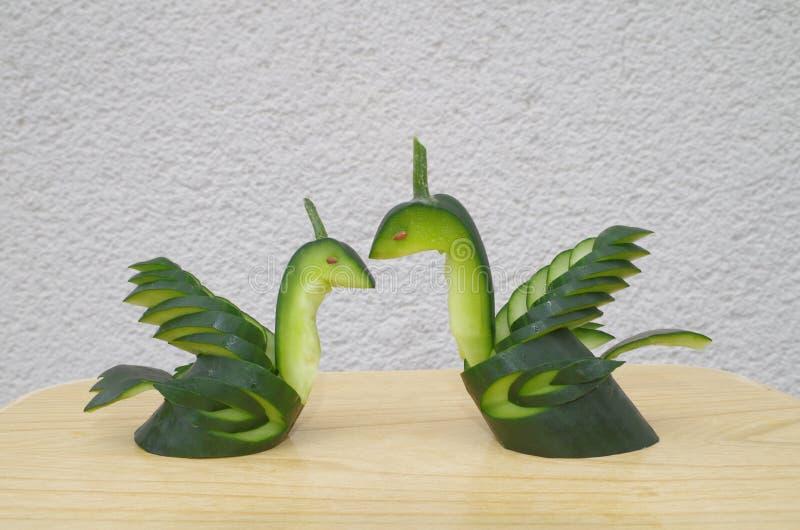 从黄瓜做的爱天鹅 免版税图库摄影