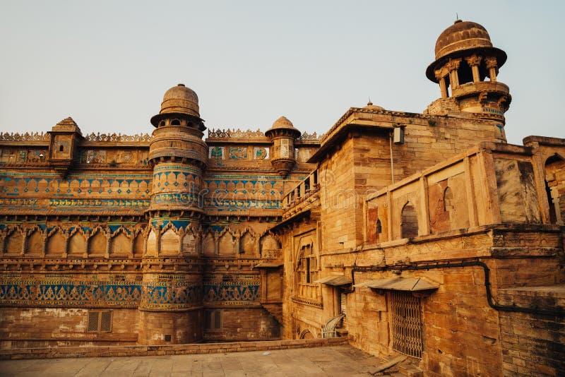 瓜廖尔堡垒,古老建筑学在印度 图库摄影