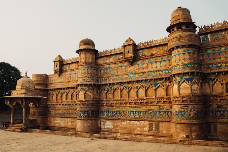 瓜廖尔堡垒,古老建筑学在印度 库存图片