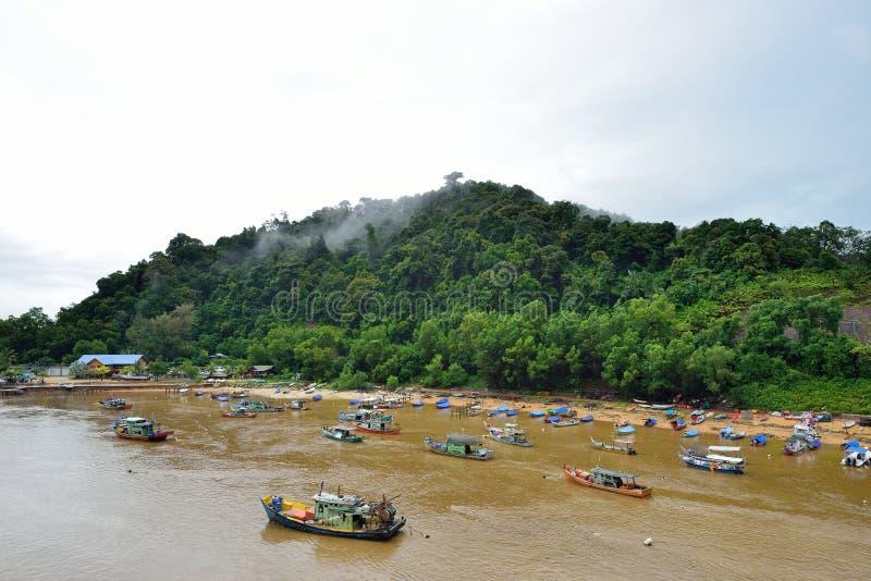 瓜拉Dungun渔村 库存照片