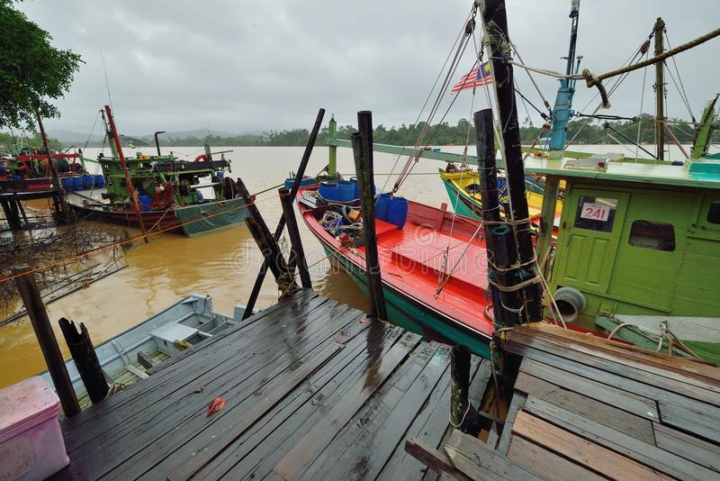 瓜拉Dungun渔村 库存图片