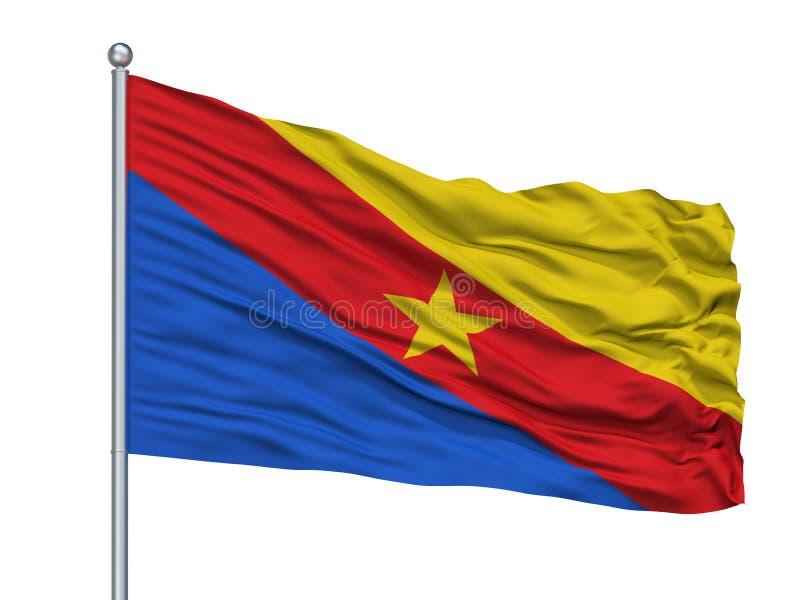 瓜杜阿斯在旗杆,哥伦比亚,昆迪纳马卡省的市旗子,隔绝在白色背景 皇族释放例证