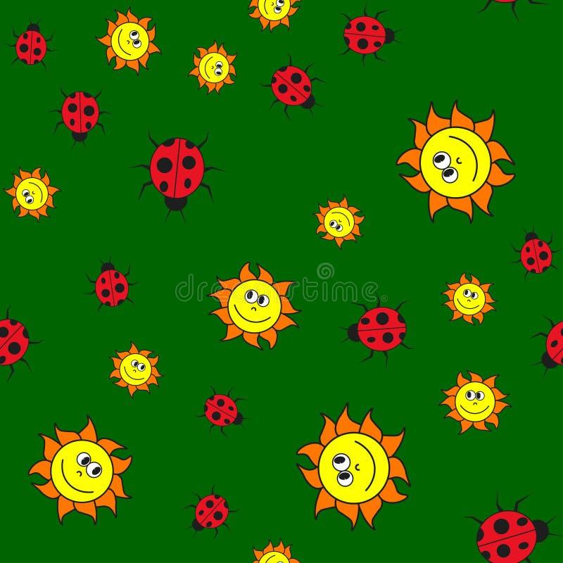 瓢虫和太阳的无缝的样式在动画片样式 皇族释放例证