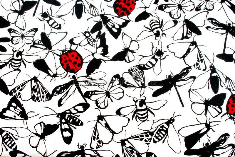 瓢虫和蝴蝶 免版税库存照片