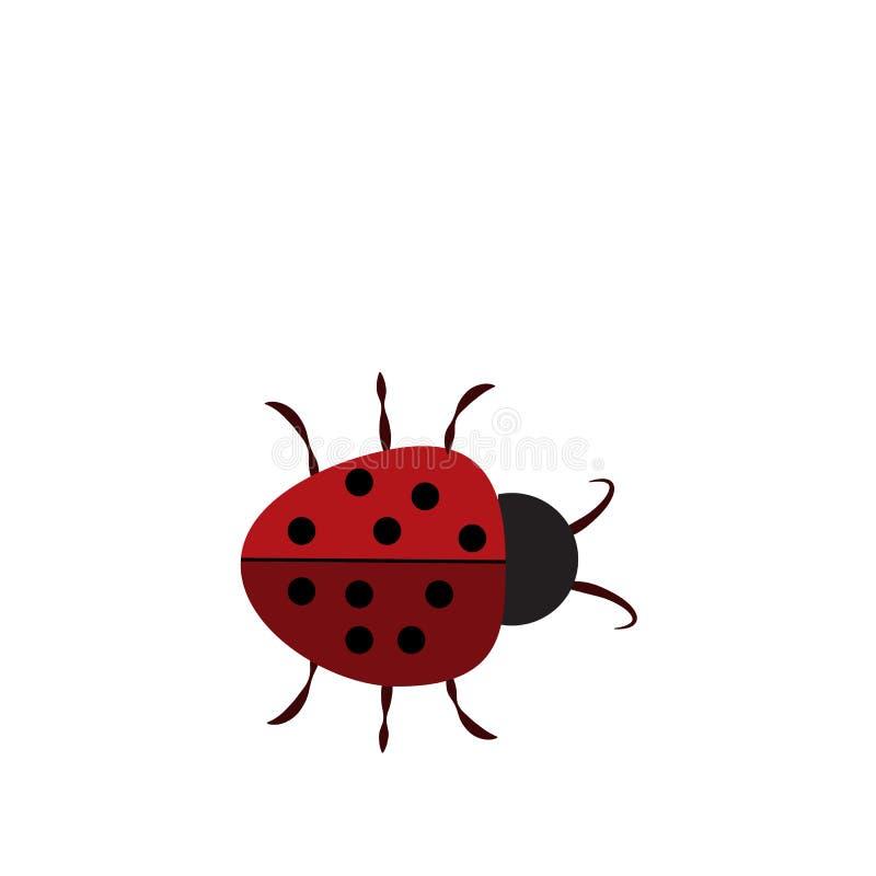 瓢虫签到框架 在白色背景隔绝的美好的红色瓢虫象 明亮的逗人喜爱的被察觉的昆虫动画片 库存例证