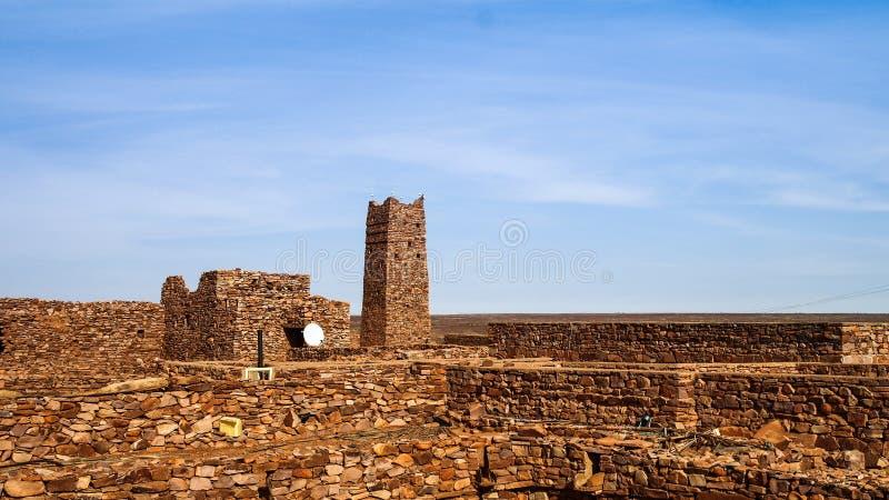 瓦丹堡垒废墟在撒哈拉大沙漠毛里塔尼亚 免版税库存照片