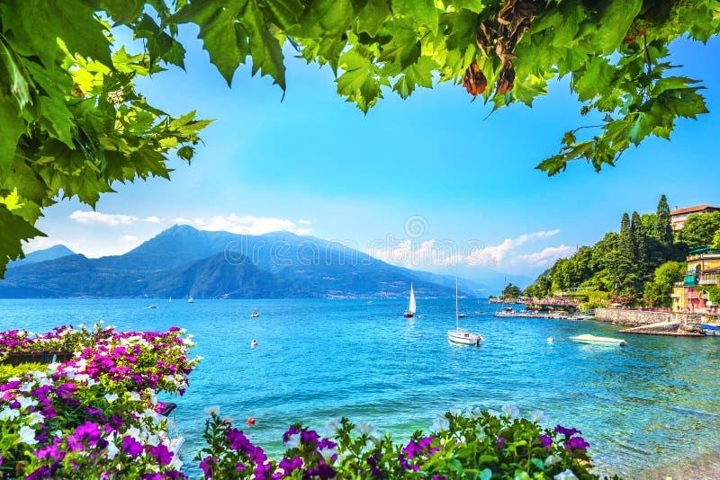 瓦伦纳镇海湾海滩和花,Como湖区风景 意大利,欧洲 库存照片