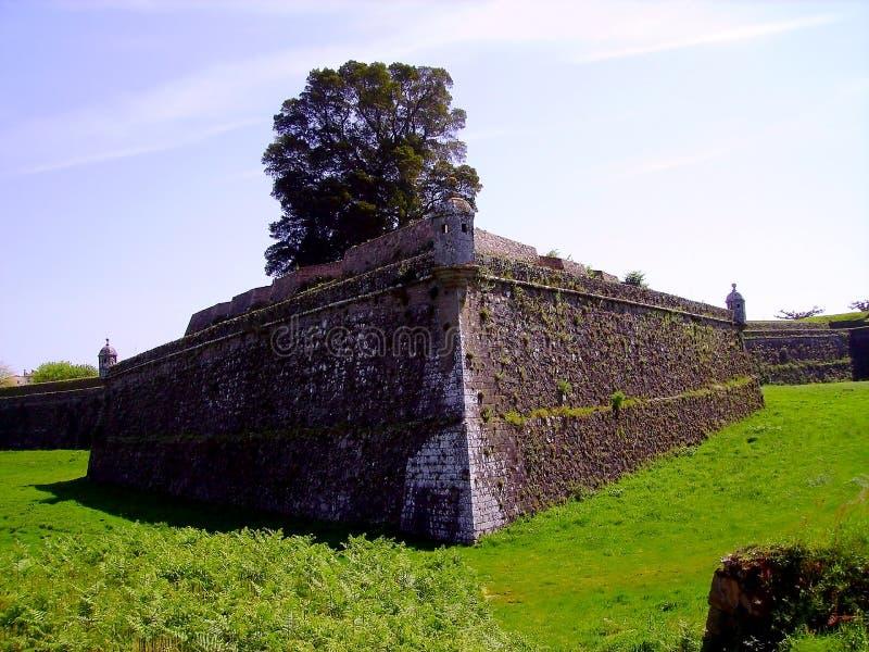 瓦伦西亚城堡堡垒做米尼奥省,葡萄牙 免版税库存图片
