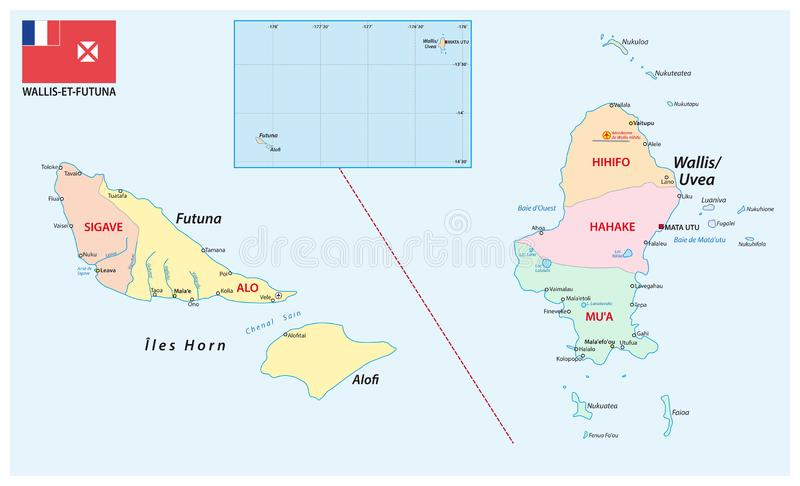 瓦利斯和富图纳群岛法国海外领地的行政和政治地图有旗子的 皇族释放例证