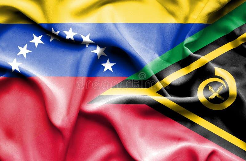瓦努阿图和委内瑞拉的挥动的旗子 皇族释放例证