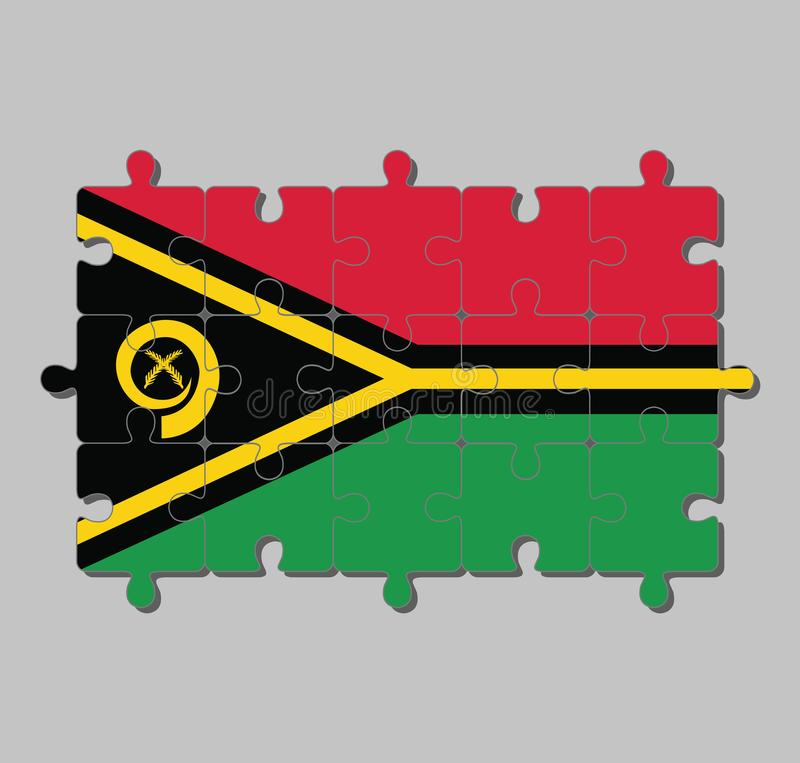 瓦努阿图旗子拼图在红色和绿色的与包围两个横渡的蕨叶状体的黑和黄色颜色公猪的象牙 向量例证