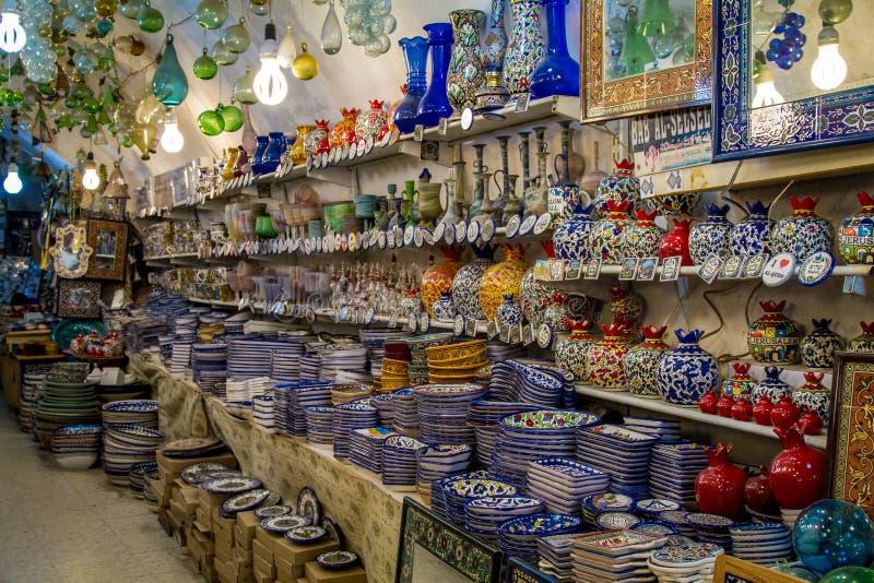 瓦器商店,阿拉伯市场在耶路撒冷耶路撒冷旧城  图库摄影