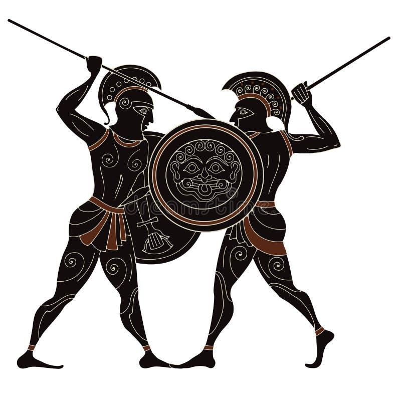 瓦器艺术 地中海文化 古希腊神话 向量例证